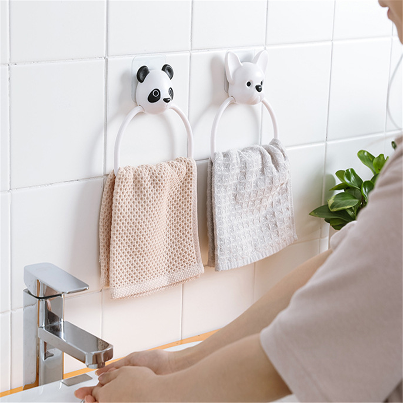 Cartoon No Trace Towel Bars Free Punch Storage Rack Household Bathroom Hook Towel Rack Towel Ring Children Wipe Storage Shelf