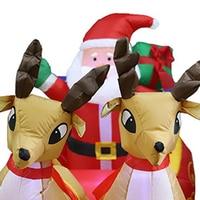 2.2m Lightweight Christmas Inflatable Decor LED Light Santa Sled Doll Shape Party Ornament Xmas Lovely Home Decoration