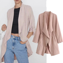 цена на 2019 autumn trench coat england simple solid roll up sleeve trench coat thin coat cardigans women tops plus size