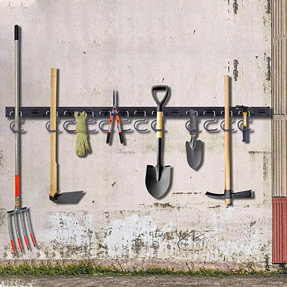Organizador de herramientas de garaje ajustable OURLITIME de 48 pulgadas sistema de almacenamiento ajustable de 12 ganchos soporte de pared para garaje almacenamiento de herramientas de jard/ín