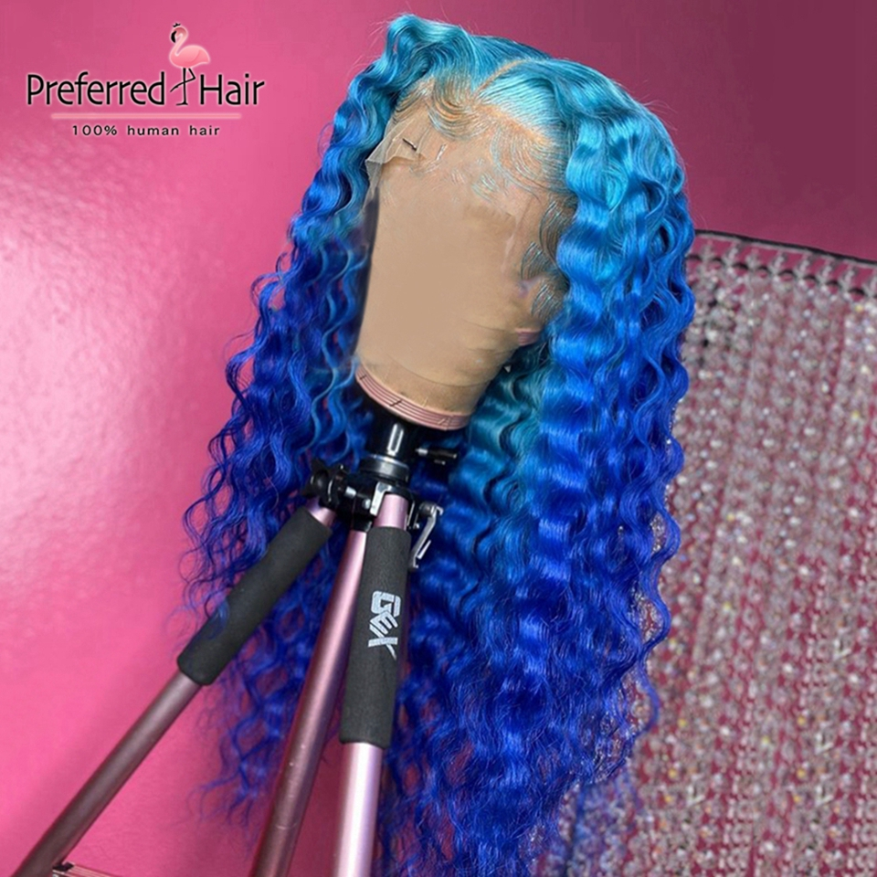 Preferred Lime Green Lace Front Wig Blue Ombre Wig Transparent Lace Wigs Remy Brazilian Full Lace Human Hair Wigs For Women