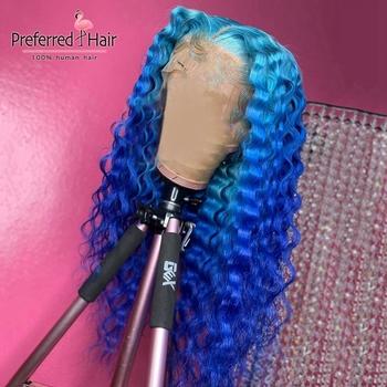 Wymarzony dom w którym znajduje się limonkowy koronkowa peruka na przód niebieski peruka Ombre przejrzyste koronki peruki Remy brazylijski pełna peruki typu Lace z ludzkich włosów dla kobiet tanie i dobre opinie PREFERRED HAIR Długi Głęboka fala Koronki przodu peruk Pełne koronkowe peruki Remy włosy Ludzki włos Ręka wiążący