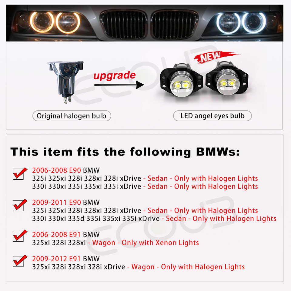 2x E90 E91 LED melek gözler ışık halkası ampul için BMW 3 serisi E90 Sedan/salon veya E91 Touring 09.2005 -09.2008 Marker Xenon beyaz