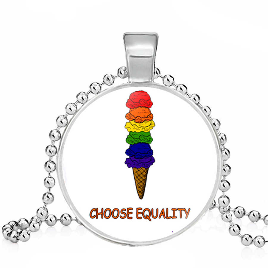 LGBT สร้อยคอ Bi Pride สร้อยคอเลสเบี้ยนเกย์ของขวัญแก้ว Cabochon เกย์ Pride เครื่องประดับ Dropshippings คริสต์มาสของขวัญ