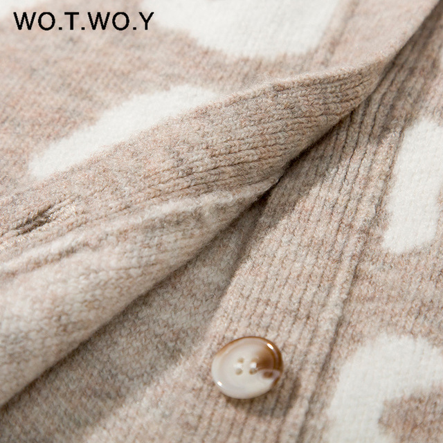 WOTWOY Autumn Winter V-Neck Knitted Cardigans Women Single Breasted Printed Loose Sweaters Female Casual Cardigans Soft Knitwear 4