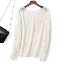 Elfbop Jersey de manga larga de retales con agujeros de lana Mohair, jersey para mujer, Top de Color liso Blanco/Negro/Verde/rosa
