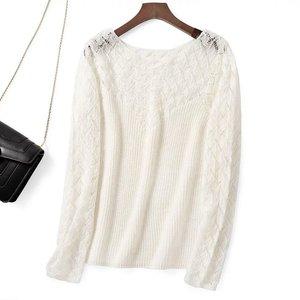 Image 1 - Elfbop wełna moher Hollow Out Patchwork sweter z długim rękawem sweter damski biały/czarny/zielony/różowy Top w jednolitym kolorze