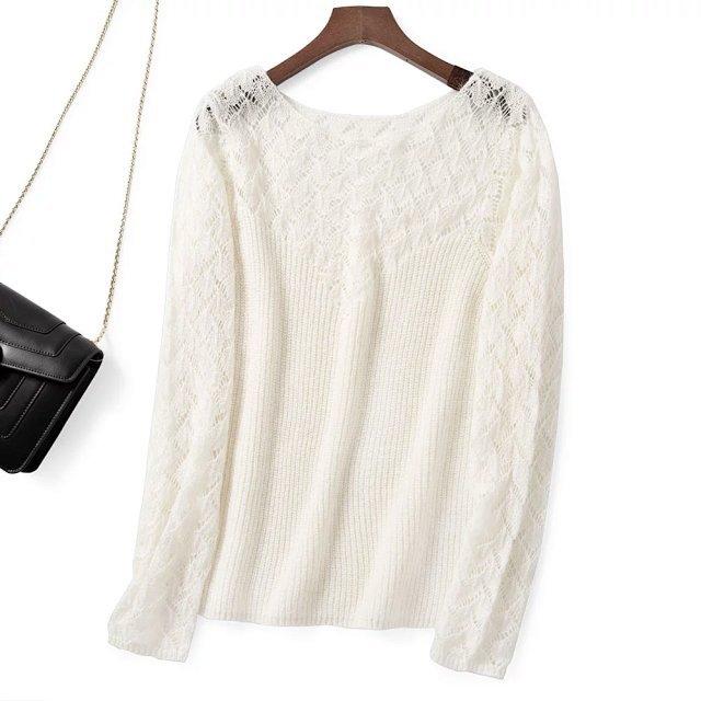 Elfbop wełna moher Hollow Out Patchwork sweter z długim rękawem sweter damski biały/czarny/zielony/różowy Top w jednolitym kolorze