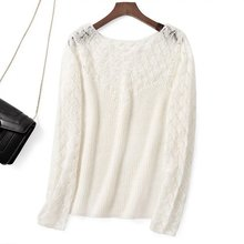 Pullover maglione maglione manica lunga Patchwork in lana Mohair Elfbop Top donna tinta unita bianco/nero/verde/rosa
