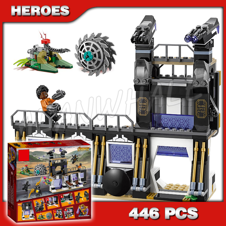 446pcs Super Heroes Black Panther Corvus Glaive Thresher Attack 10838 Model Building Blocks Toys Bricks Compatible with Lago