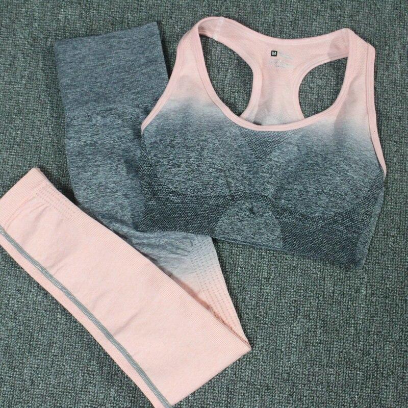 Mulheres yoga conjunto ombre sem costura leggings