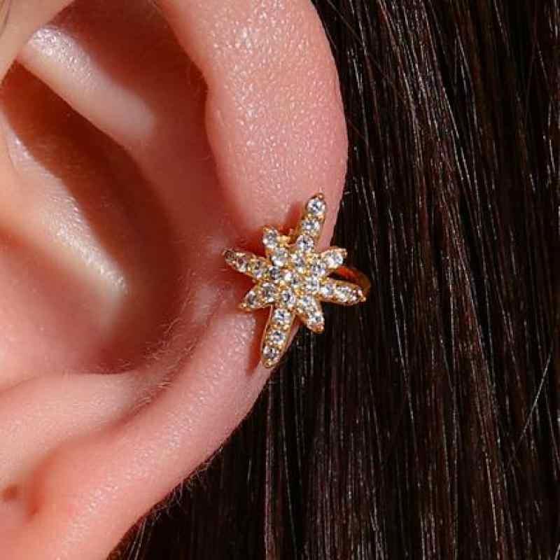 スター耳クリップクリスタルジルコンクラシック女性のためのメタル出穂ジュエリーゴールドシルバー色なし耳穴必要クリップイヤリング