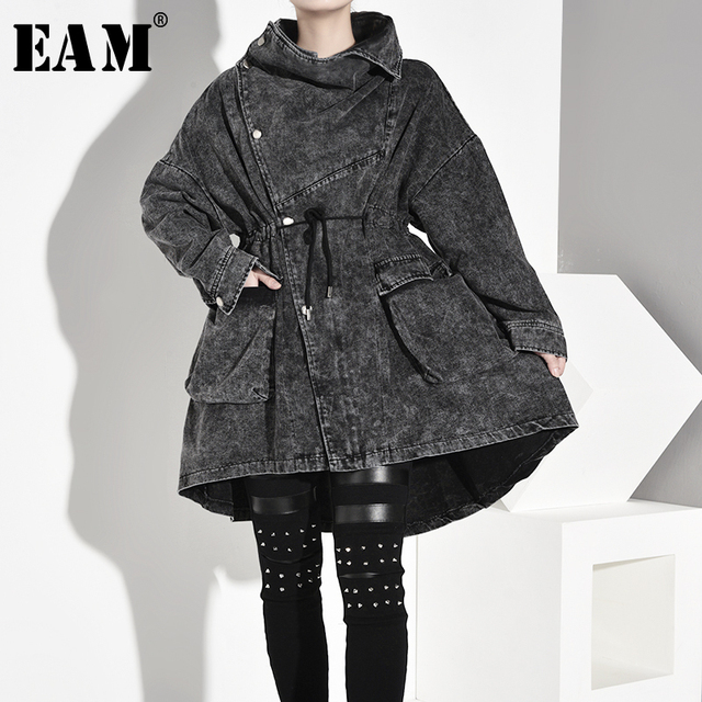 $ US $48.28 [EAM] Women Oversized Big Size Denim Trench New Stand Collar Long Sleeve Loose Fit Windbreaker Fashion Spring Autumn 2020 1D2080