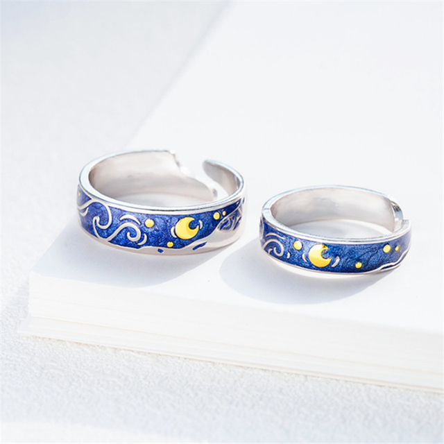 Moon Star Starry Night Van Gogh Adjustable Rings For Couple Lover's 925 Silver  3