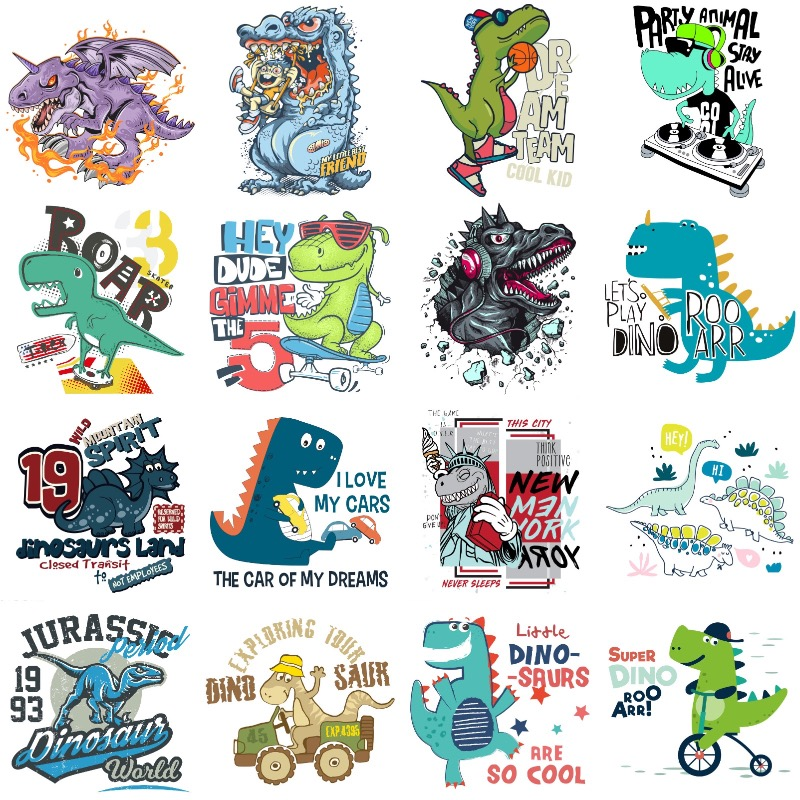 Pegatinas para ropa de dinosaurios, parches para planchar, transferencia de calor artesanal, para ropa de niño y niña, apliques para camiseta, decoración