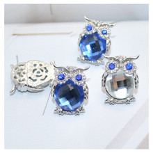 Classic Owl Earrings Zinc Alloy Crystal Blue and Gray White Stud Women Fashion Brand Jewelry