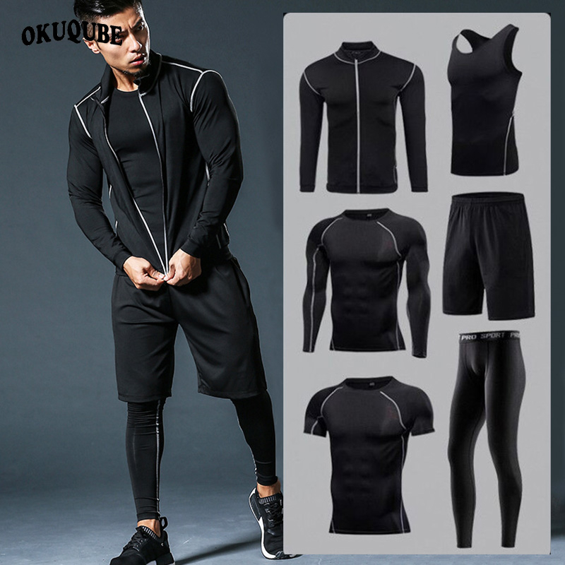 Men Sportswear Tracksuits Joggers Running-Sets Compression-Sport-Suits Fitness Quick-Dry
