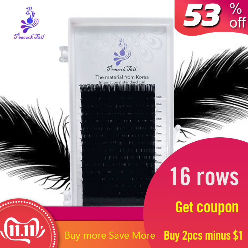 16rows Matte Black Natural Eyelashes Extension Volume Professional Eyelash Extensions Complete Individual Mix Peacock Tail