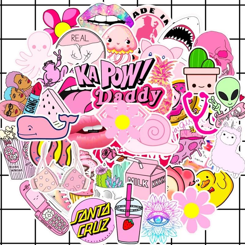 50pcs Waterproof Pink Girls Fun Sticker Toys For Car Suitcase Laptop sticker New