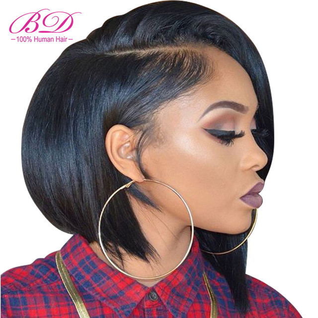 Lace Front Human Hair Wigs Blonde Natural Color Brazilian Remy Hair Short Bob Wig with Pre Plucked Hairline Blonde 613#