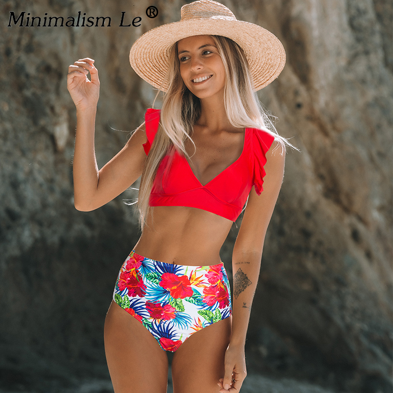 Solid Ruffle Bikini Set High Waist Print Swimwear Women Bathing Suit Sexy Swimsuit 2020 New Summer Beachwear Biquini Feminino