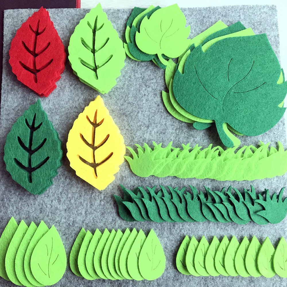 Nonwoven Green Leaves Patch Leaf Felt For Kids DIY Craft Accessory Room Home Kindergarten Wall Decor Stickers Party Paste Supply