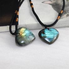 1 шт. натуральный узор сердца кулон лабрадоритовое ожерелье драгоценный камень лунный камень ремесла камень висящий орнамент для женщин Подарки