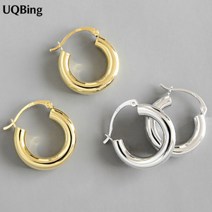 925 Sterling Silver Round Circle Women Hoop Earrings for Women Gold/Silver Color Earrings Jewelry Gifts