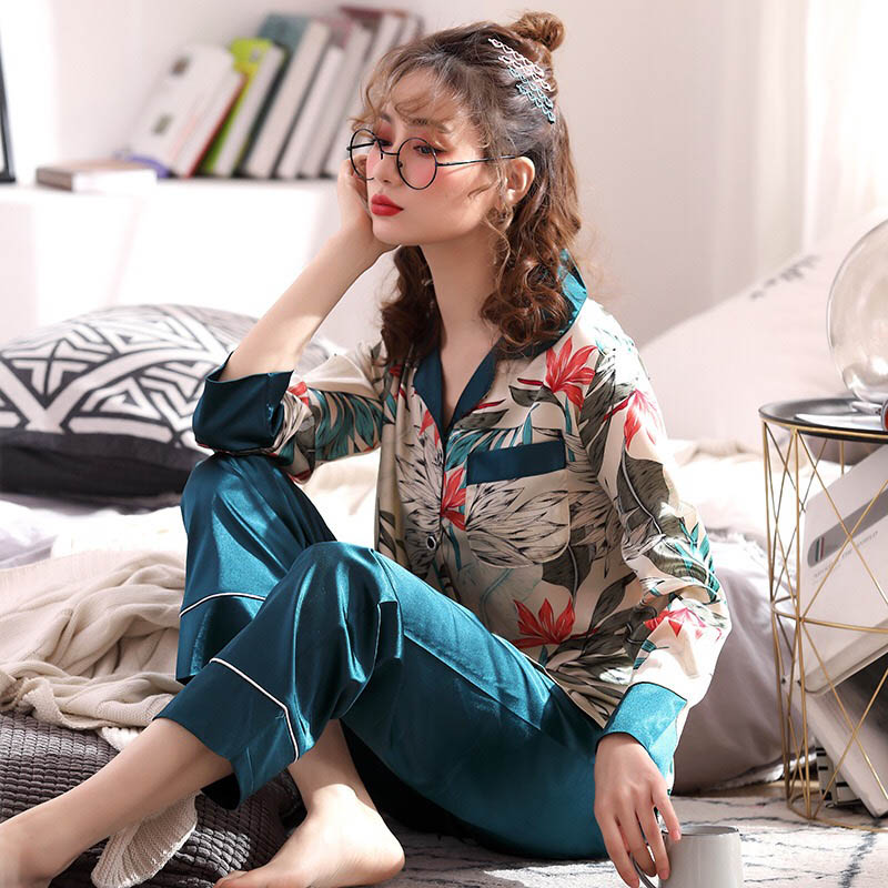 Ladies Pajamas Set Autumn&Spring New Women Long Sleeve+Pants 2Pcs Sleepwear Silk Satin Femme Floral Printed Casual Wear Homewear