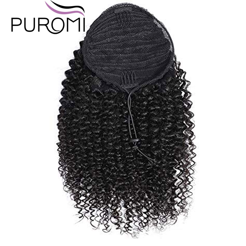 Puromi Deep Wave Human Hair Machine Made Wrap Around Ponytail Clip in Pony Tail Extensions Peruvian Non-Remy Hair