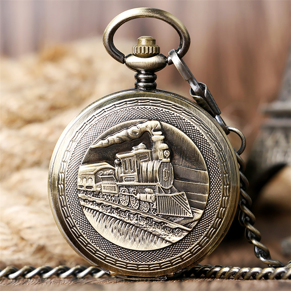 Antique Bronze/Silver Steampunk Train Mechanical Pocket Watch Self-Winding Roman Numerals Display Collect Retro Hanging Cl