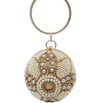 Boutique De FGG Beaded & Crystal Round Ball Clutch Women Evening Bags Formal Dinner Wedding Purses Bridal Handbags