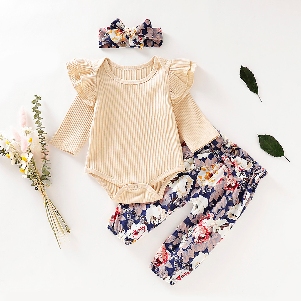 3PCS Infant Baby Girls Kids Short Sleeves Romper Tops+Floral Pants Outfits