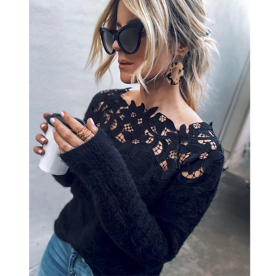 Meihuida 2020 Autumn Women Long Sleeve Knitted Sweater Jumper Pullover Hollow Out Blouse Casual Top Clothes