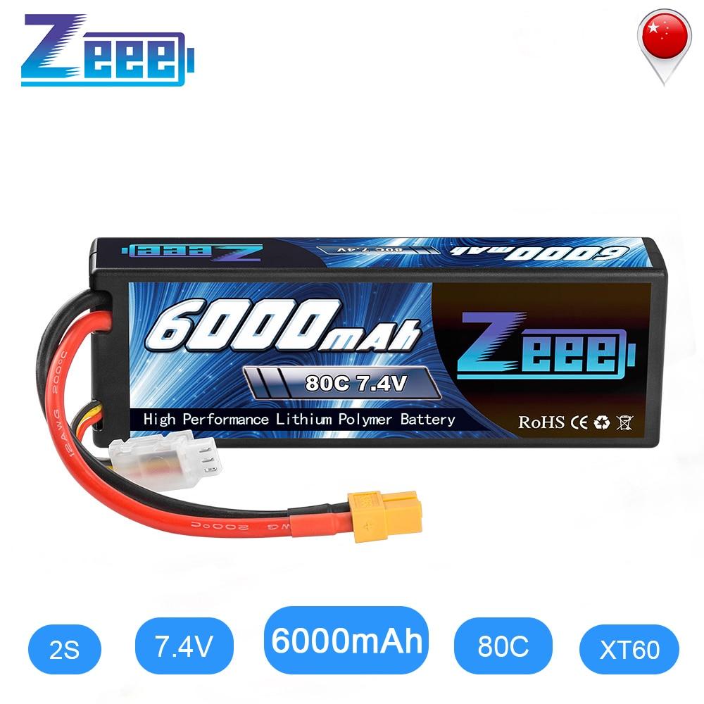 Zeee LiPo Battery 2S 7.4V 6000mAh 80C XT60 RC Parts Hardcase Lipo 2S For Traxxas Airplanes RC Car Vehicle Truck Tank Boats