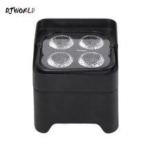 DJworld Luz LED de aumento UV RGBWA, 4x18W, batería Par inalámbrico, Wifi e IR, Control remoto, DMX Uplighting, DJ, Disco de lavado, escenario de boda