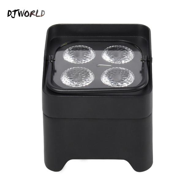 Djworld 4x18 w rgbwa uv led uplight bateria sem fio luz par wifi & ir controle remoto dmx uplighting dj lavagem discoteca casamento palco