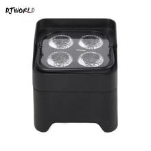 Djworld 4x18 w rgbwa uv led uplight 배터리 무선 파 빛 wifi & ir 원격 제어 dmx uplighting dj 워시 디스코 웨딩 스테이지