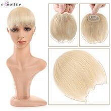 S-noilite 8g Natural Hair Bangs Fringe Human Hair Bangs Wig Human Hair Clip in Extensions Irregular Fringe Hairpiece For Women
