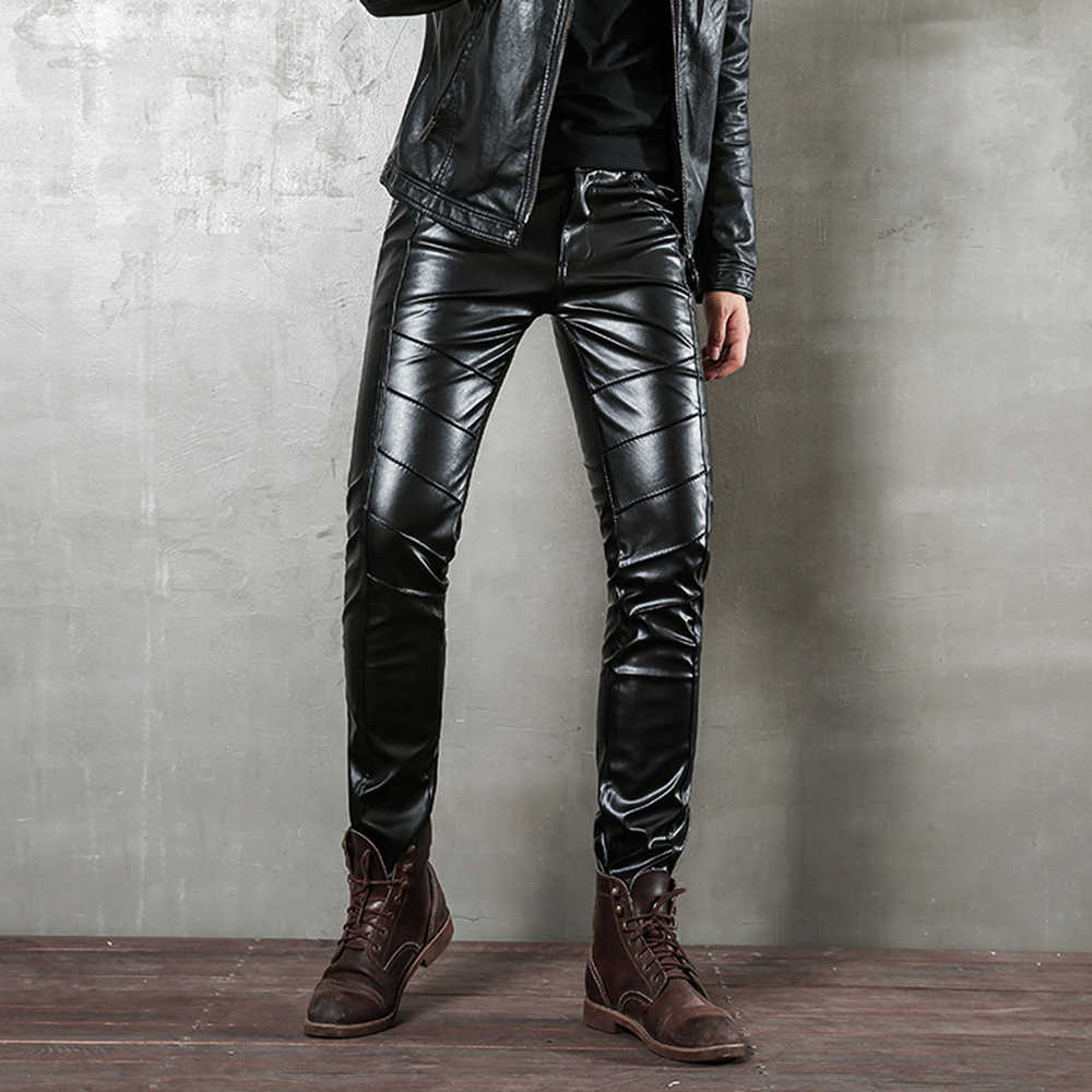 Man Leather Pants Autumn Fashion Punk Trousers Zipper Semi-leather Casual Stitching Tight PU Leather Pants Locomotive Style