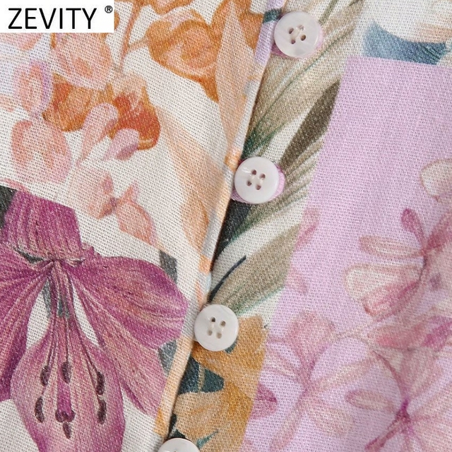 Zevity Women Stand Collar Breasted Bow Sashes Shirtdress Female Patchwork Floral Print Vestidos Chic A Line Mini Dresses DS8255 5