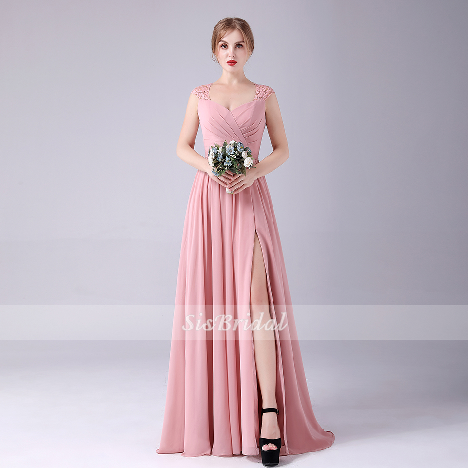 A-Line Sweetheart Floor Length Chiffon Bridesmaid Dresses With Split Front And Lace