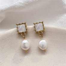 Fashion contracted small natural pearl earrings female temperament square frame geometry earrings adorn article the new european and american fashion earrings contracted dazzle colour hollow out long wings ms popular earrings adorn article