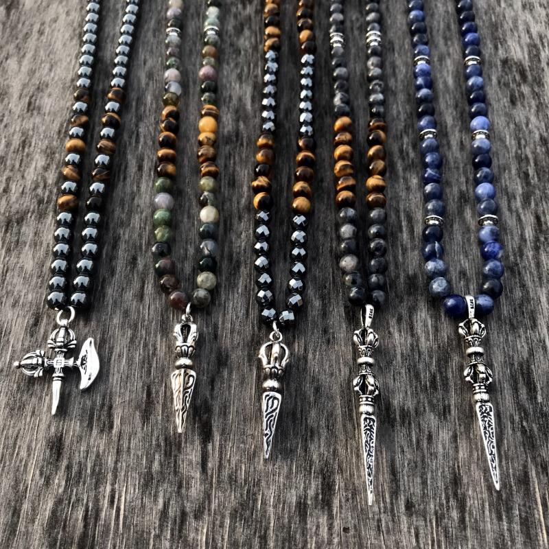 Mcllroy ожерелье из натурального камня для мужчин тигровый глаз камень из нержавеющей стали подвески копья ожерелья уникальные Винтажные Ювелирные Изделия|Ожерелья с подвеской| | АлиЭкспресс