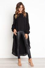 Kadın fener kollu yüksek düşük üst yüksek boyun bluz gevşek uzun kollu bluz asimetrik Hem tunik Casual şifon gömlek bayan