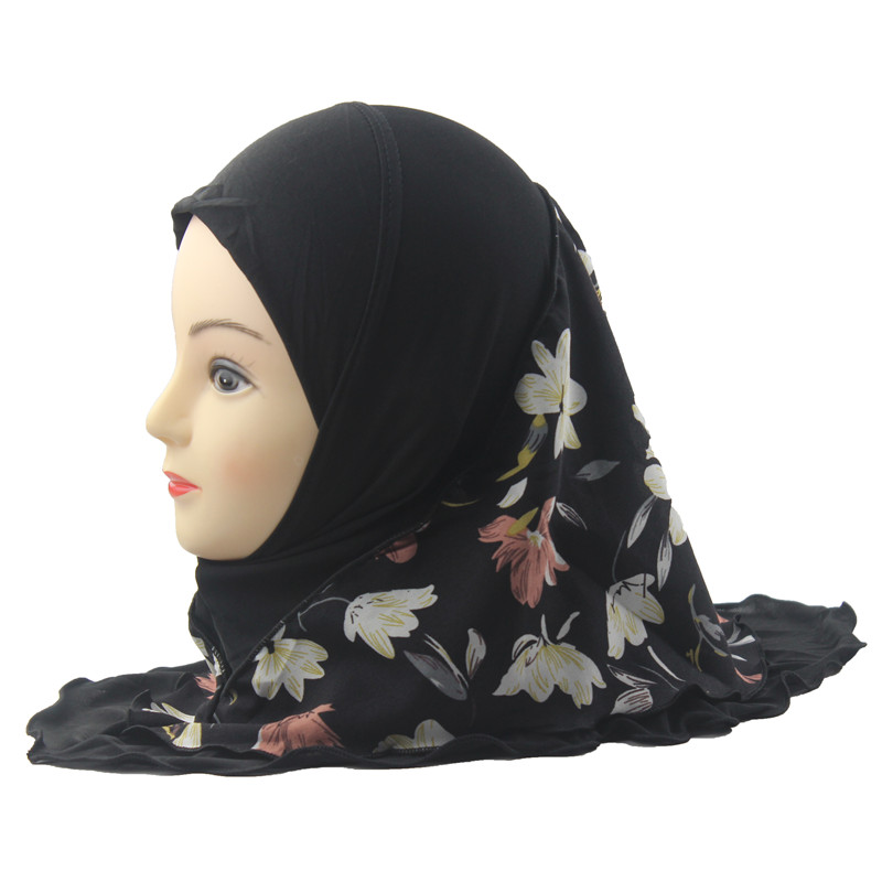Muslim Hijab Islamic Girls Kids Arab Scarf Shawls Double Layers Printed Flower Pattern Two Size For 2 To 12 Years Old Girls