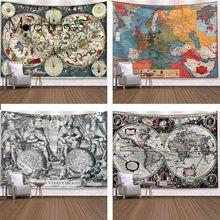 Tapisserie murale à motif carte du monde rétro, couverture suspendue, ferme, tapis de couchage, décoration de maison, Machine à Imprimer Sur Tissu