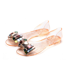 Women Crystal Sandals Bling Bowtie Transparent Jelly Female Casual Summer Open T