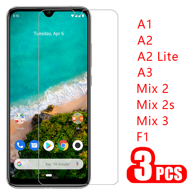3pcs protective glass for <font><b>xiaomi</b></font> <font><b>mi</b></font> a3 a2 lite a1 <font><b>mix</b></font> 3 2s <font><b>2</b></font> pocophone f1 <font><b>screen</b></font> <font><b>protector</b></font> tempered glas ksiomi my a 3 <font><b>2</b></font> 1 light image