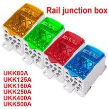 1 pces ukk80a ukk125a ukk160a ukk250a ukk400a ukk500a bloco de terminais 1 em muitos para fora caixa de distribuição do trilho do ruído